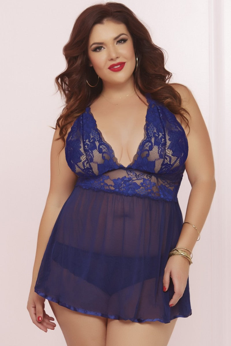 Wondrous Babydoll Set - Blue - Tiaz Boutique
