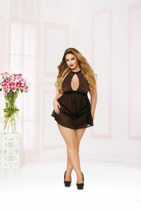 Just A Secret Babydoll Set - Black - Tiaz Boutique