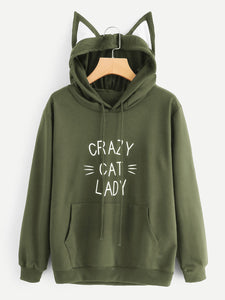 Crazy Cat Lady Green - Unisex Cat Ear Hoodie - Purrriceless