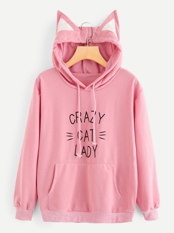 Crazy Cat Lady Pink - Unisex Cat Ear Hoodie - Purrriceless