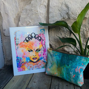 Hand-painted fine art handbags by Martice Smith. Fine art abstract painting of black goddess with flowers.