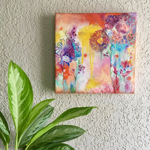 Abstract floral and graffiti canvas painting and art prints by Martice Smith. CrazyPlantLady artwork, Jungalow vibes.