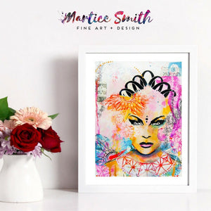 Fine art abstract painting of black and multicolored goddess with flowers.
