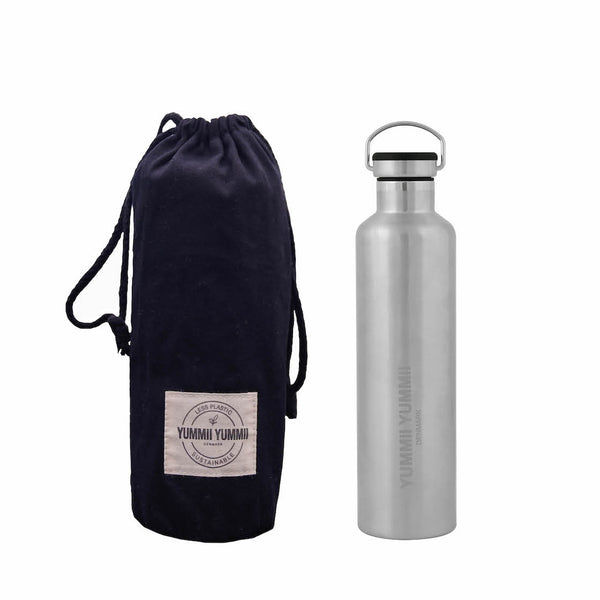 Yummii Yummii Termoflaske med sort bambus låg - 1000 ml Thermo Bottles Stainless Steel 18/8