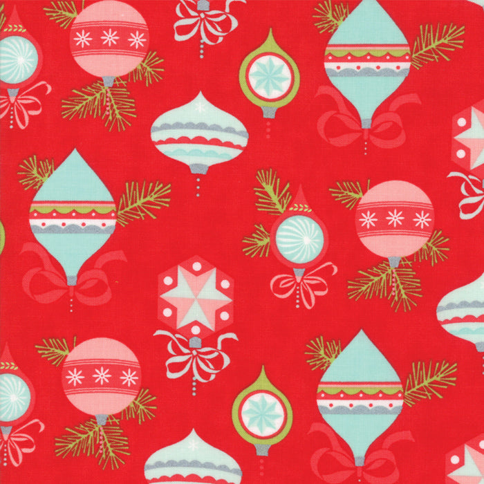 Red Vintage Ornaments Flannel Fabric from Vintage Holiday Flannel Collection at Cherry Creek Fabric