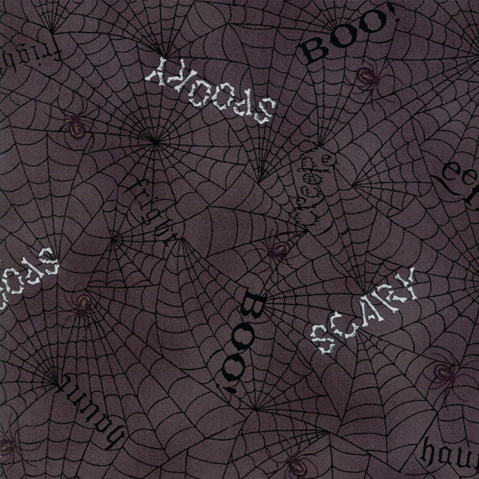 Bewitching by Deb Strain | Dark Grey Web Words Fabric from Bewitching Collection at Cherry Creek Fabric