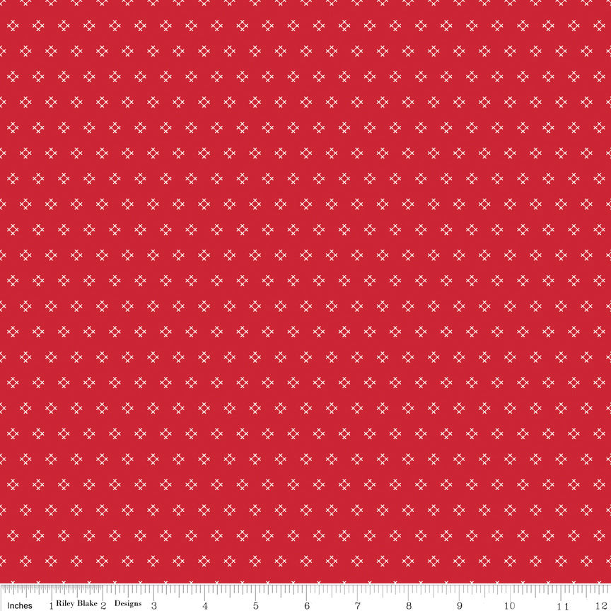 Red Cross Stitch Fabric from Autumn Love Collection at Cherry Creek Fabric