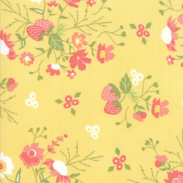 Strawberry Jam Fabric - Yellow Floral Garden Fabric - Corey Yoder - Moda Fabric - Floral Fabric - Yellow Fabric - Fabric by the Yard from Cherry Creek Fabric & Crafts Collection at Cherry Creek Fabric