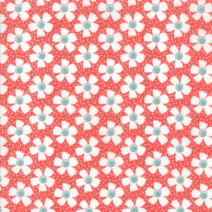 Red Gingham Daisies Fabric