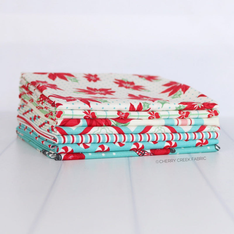 Sweet Christmas Aqua Fat Quarter Bundle - 7 pieces