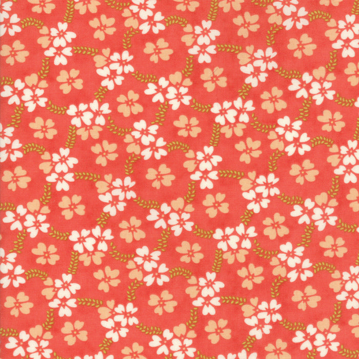 Red Daisy Rings Fabric
