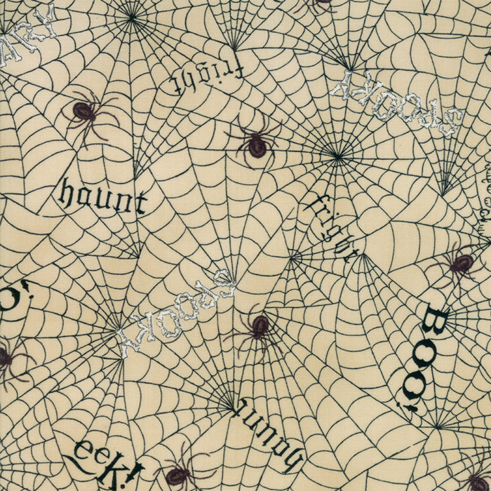 Tan Web Words Fabric from Bewitching Collection at Cherry Creek Fabric