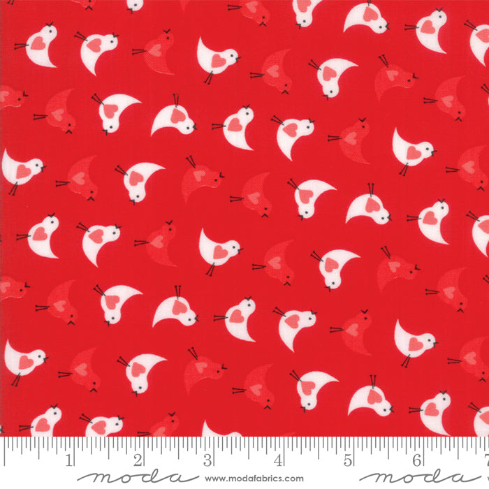 "Red Love Bird FabricEND OF BOLT 2 yds + 9"" from REDiculously Red Collection at Cherry Creek Fabric"