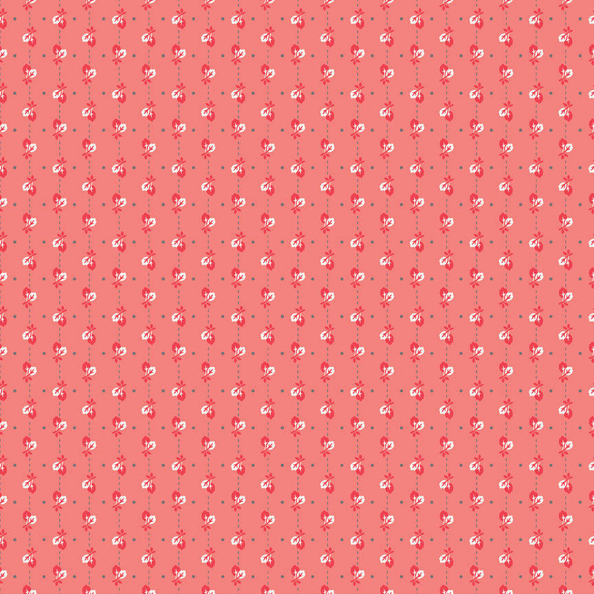 Coral Leaves Fabric from Autumn Love Collection at Cherry Creek Fabric