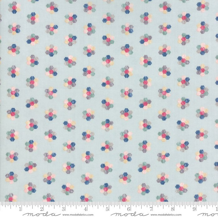 Light Blue Hexagon Floral Fabric from Freya & Friends Collection at Cherry Creek Fabric