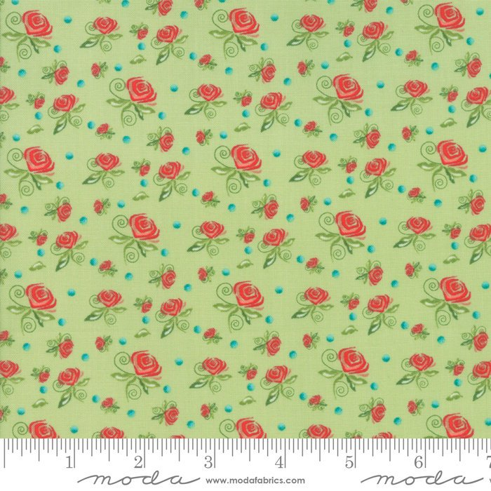 Green Miniature Roses Fabric from Coledale Collection at Cherry Creek Fabric