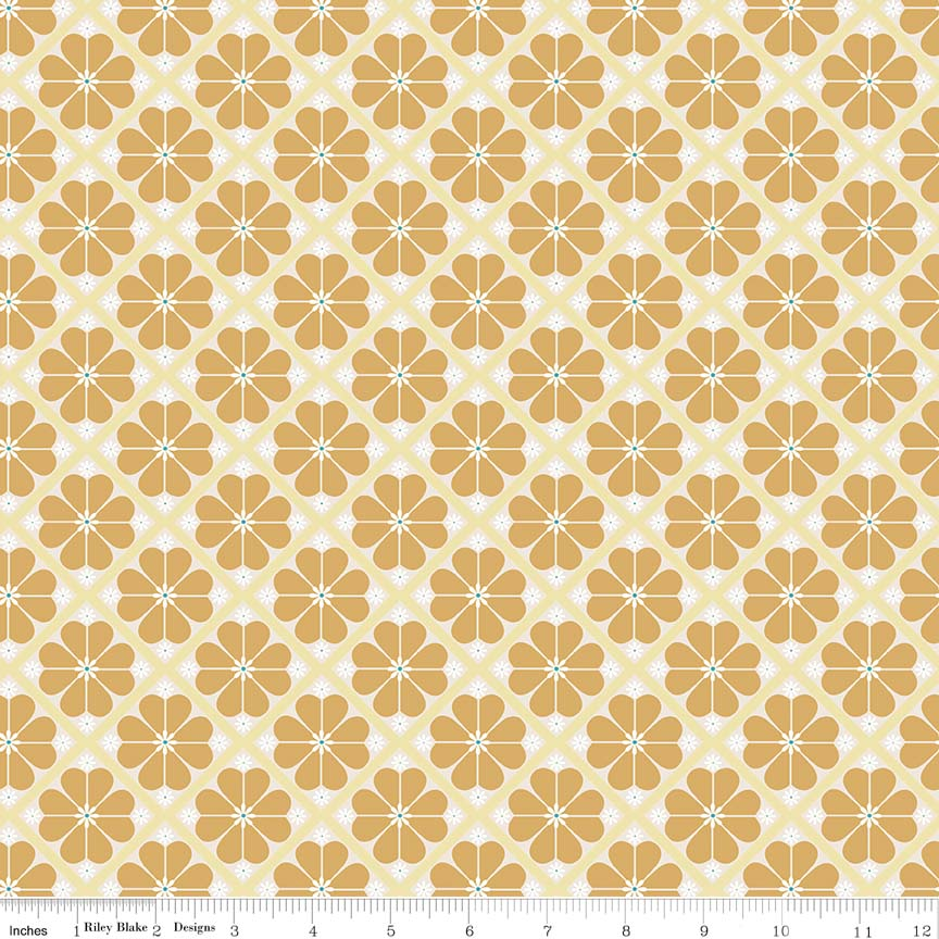 Yellow Lattice Fabric from In the Meadow Collection at Cherry Creek Fabric