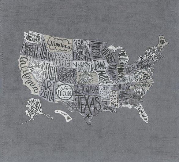 Grey US Map Panel Fabric