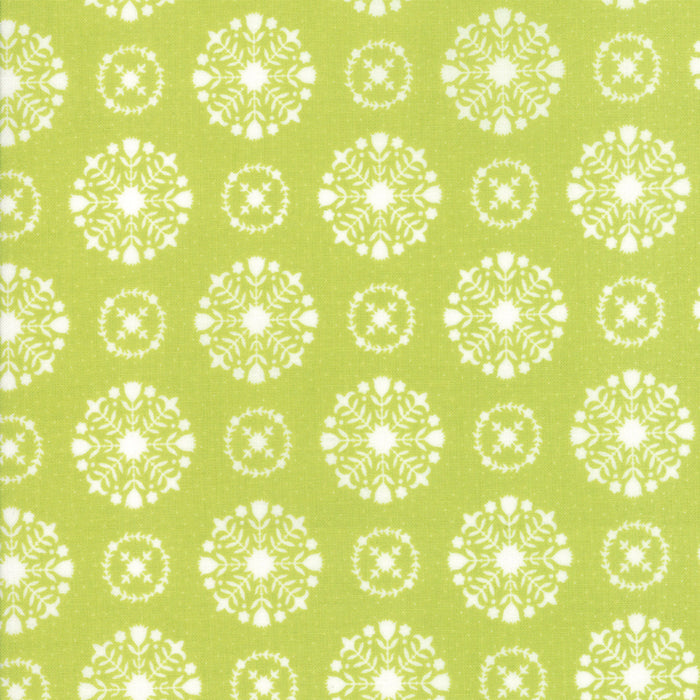 Green Snowflakes Flannel Fabric from Vintage Holiday Flannel Collection at Cherry Creek Fabric