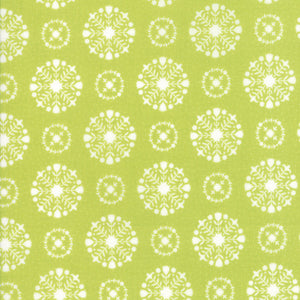 Green Snowflakes Flannel Fabric