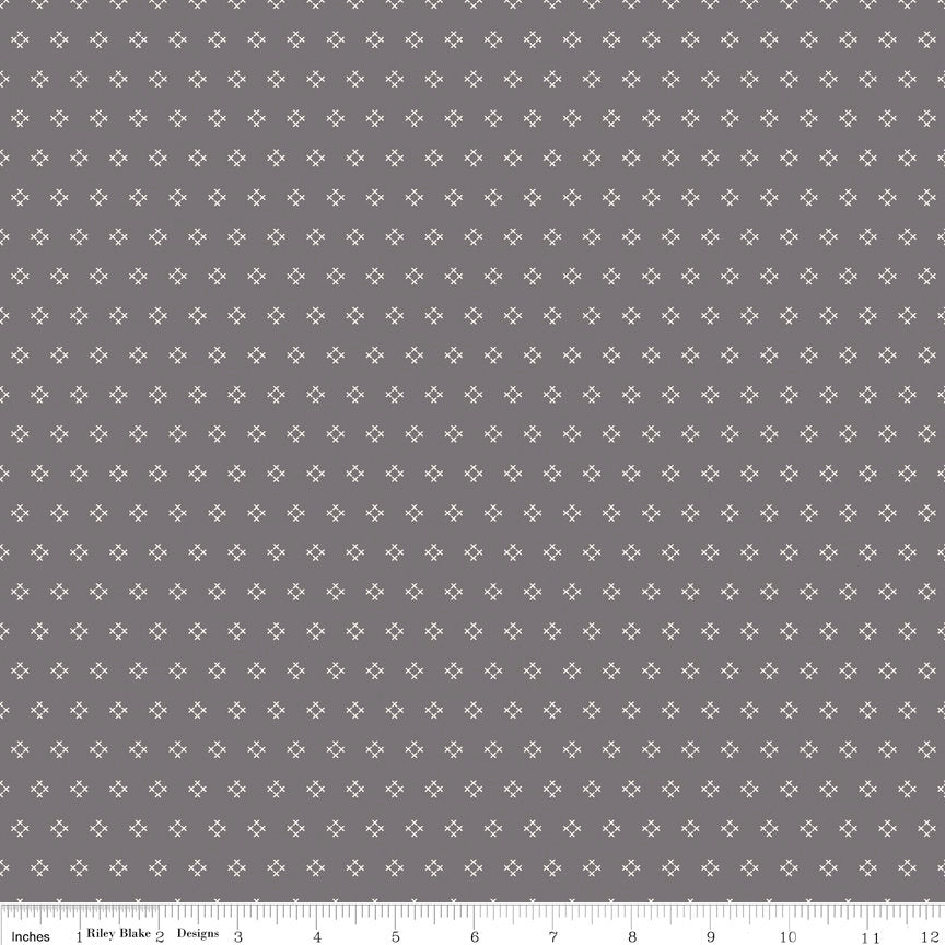 Grey Cross Stitch Fabric from Autumn Love Collection at Cherry Creek Fabric