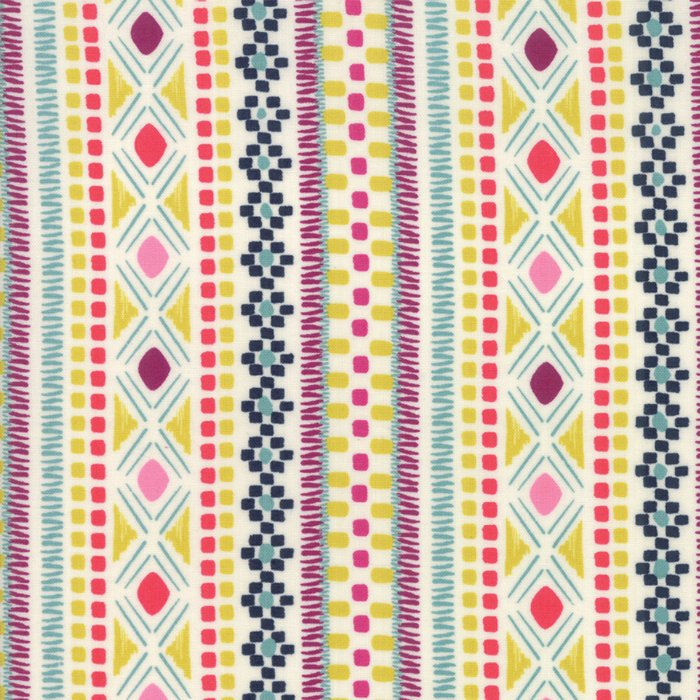 White Geometric Stripe Fabric
