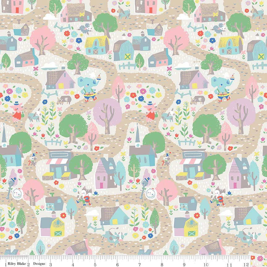 Village Cream Fabric from Once Upon A Rhyme Collection at Cherry Creek Fabric