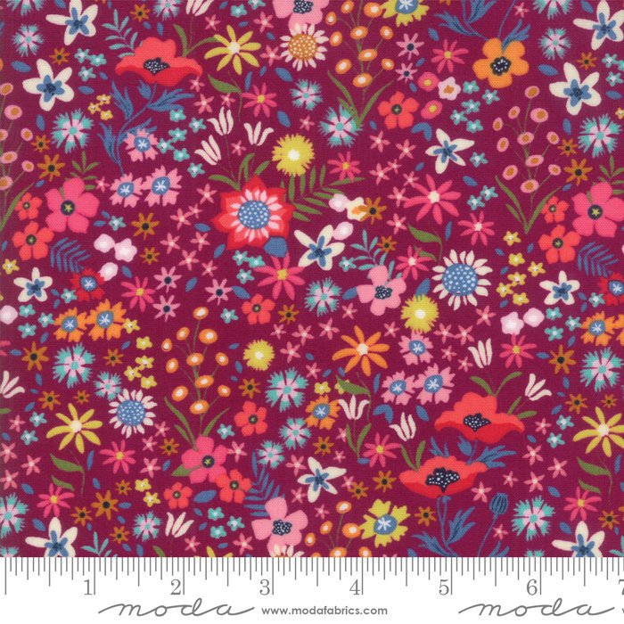 Purple Flower Patch Fabric from Rosa Collection at Cherry Creek Fabric