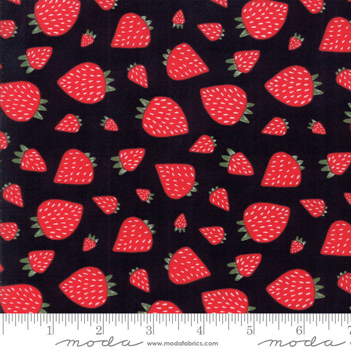 Black Strawberry Patch Fabric from Farm Fresh Collection at Cherry Creek Fabric