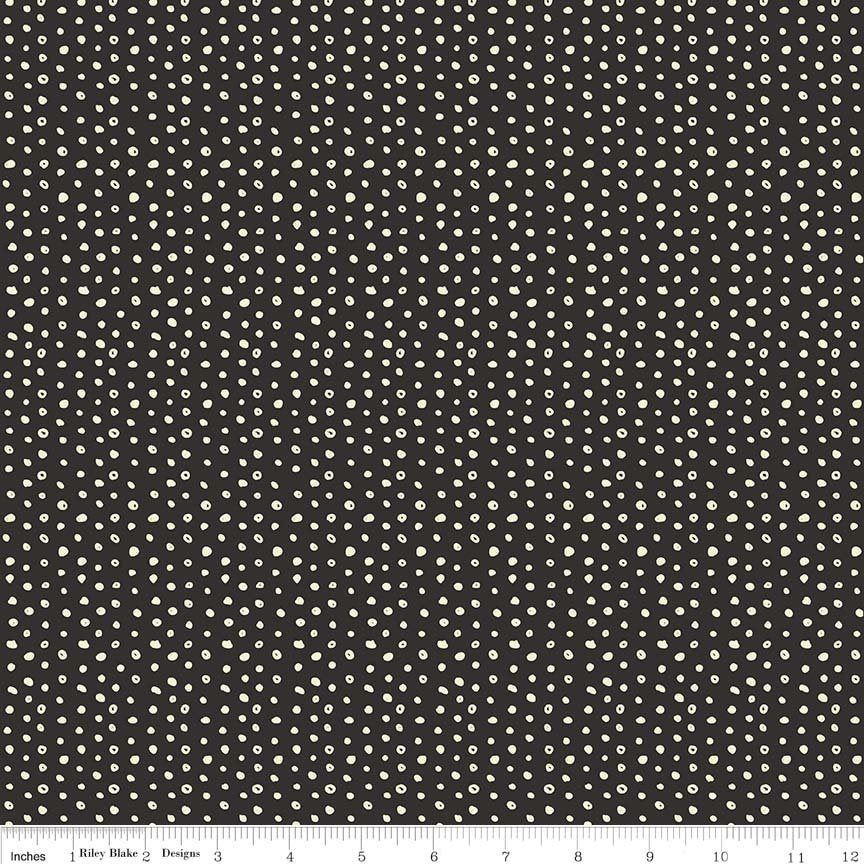 "END OF BOLT 1 yd + 17"" - Cats Bats & Jacks - Black Glow in the Dark Dots Fabric - My Minds Eye - Halloween Fabric - Polka Dot Fabric from Cherry Creek Fabric & Crafts Collection at Cherry Creek Fabric"