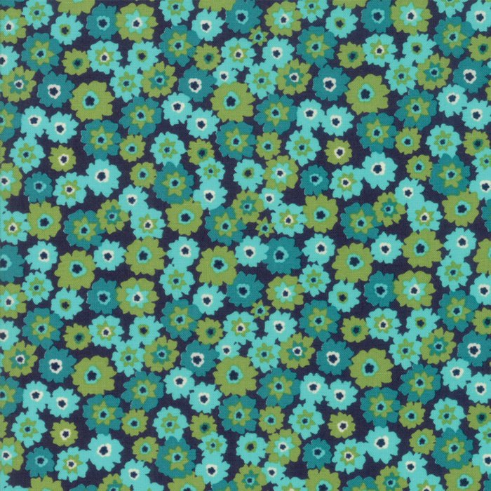 Aqua on Navy Flower Tarts Fabric
