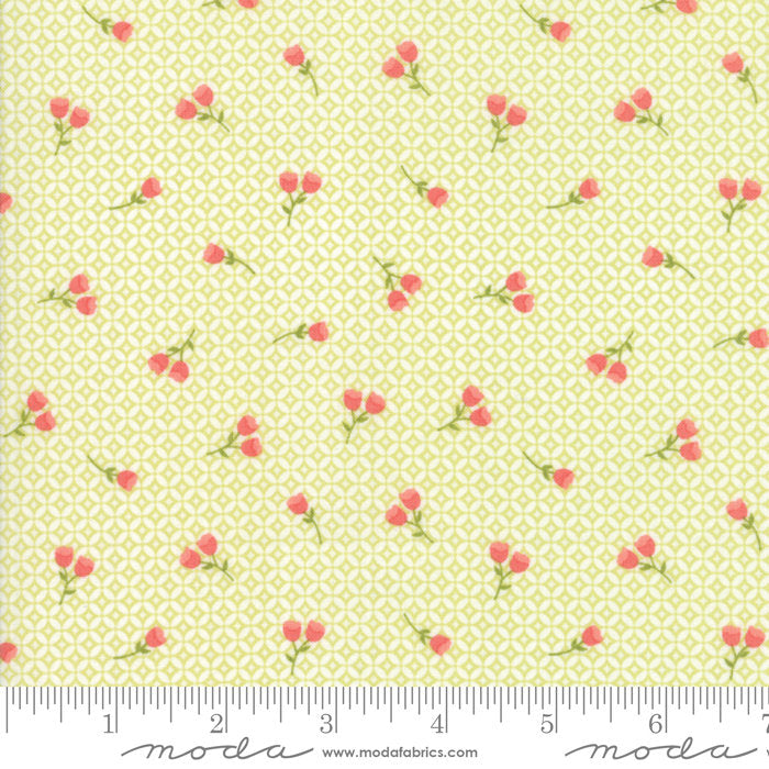 Strawberry Jam Fabric - Green Floral Geometric Fabric - Corey Yoder - Moda Fabric - Floral Fabric - Flower Fabric - Fabric by the Yard from Cherry Creek Fabric & Crafts Collection at Cherry Creek Fabric