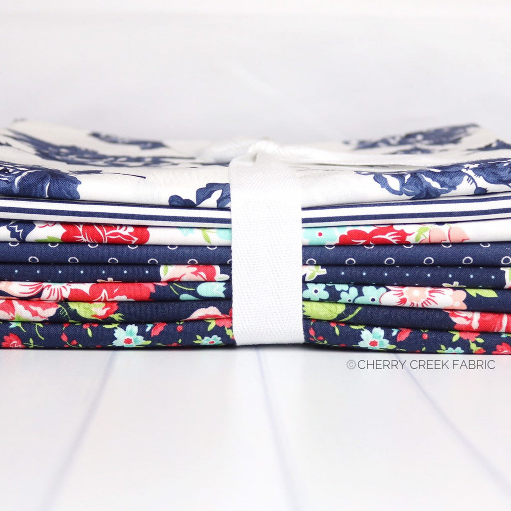 Smitten Navy One Yard Fabric Bundle from Smitten Collection at Cherry Creek Fabric