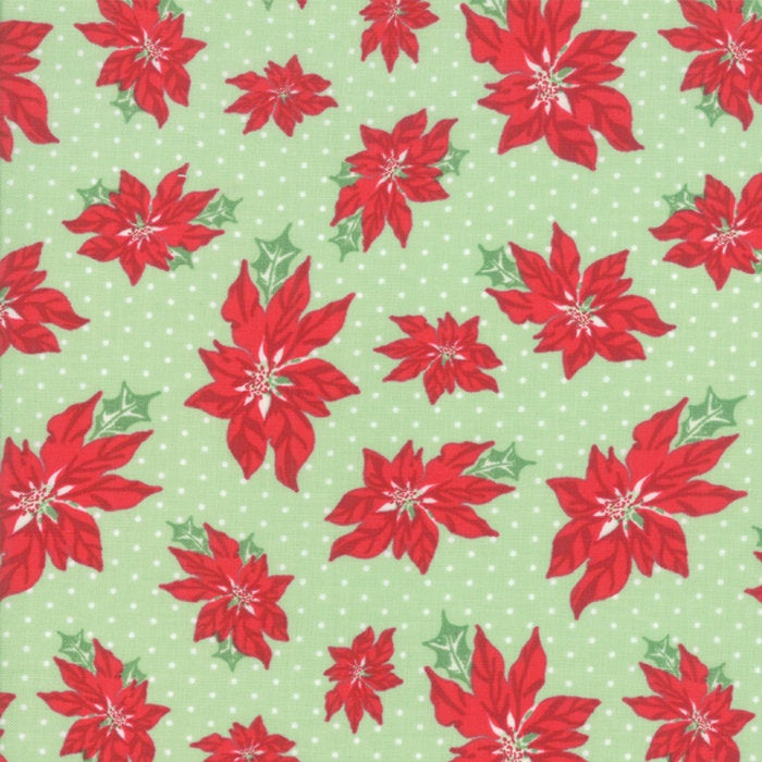Sweet Christmas by Urban Chiks | Green Poinsettia Fabric