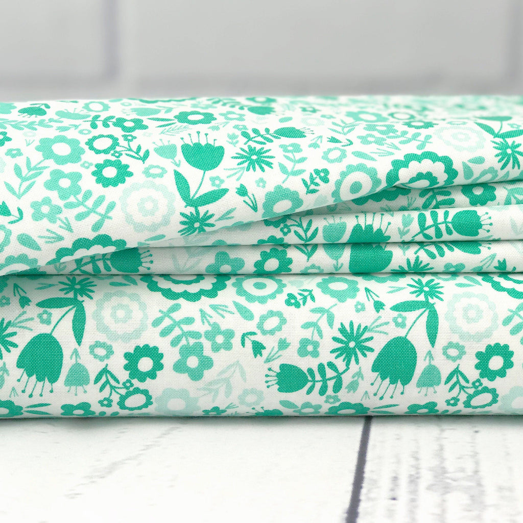 Aqua Floral Fabric from Heart & Soul Collection at Cherry Creek Fabric
