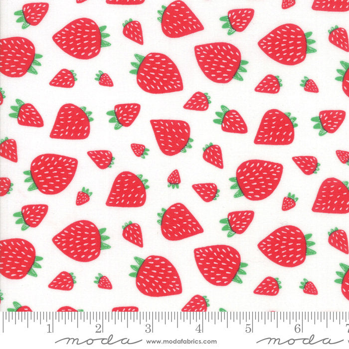 White Strawberry Patch Fabric