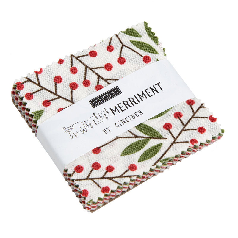 Merriment Mini Charm Pack - Gingiber Designs - Moda Fabric - Fabric Bundle - Moda Mini Charm Pack - Christmas Fabric - 42 pieces from Cherry Creek Fabric & Crafts Collection at Cherry Creek Fabric