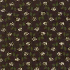 Black Pine Cone Fabric from Winter Village Collection at Cherry Creek Fabric