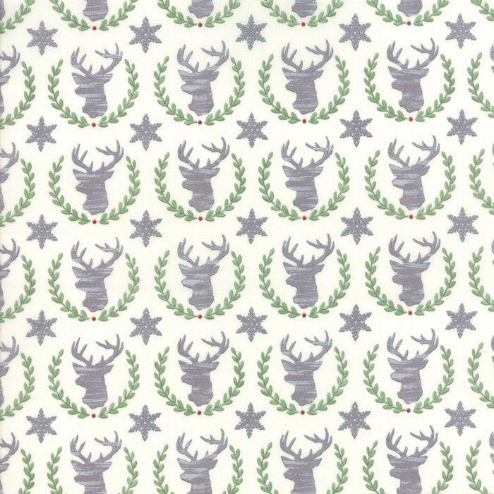 White Laurel Deer Fabric from Hearthside Holiday Collection at Cherry Creek Fabric