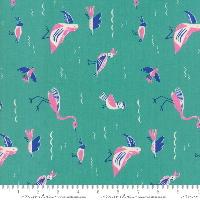 Turquoise Seabirds Fabric from Yucatan Collection at Cherry Creek Fabric