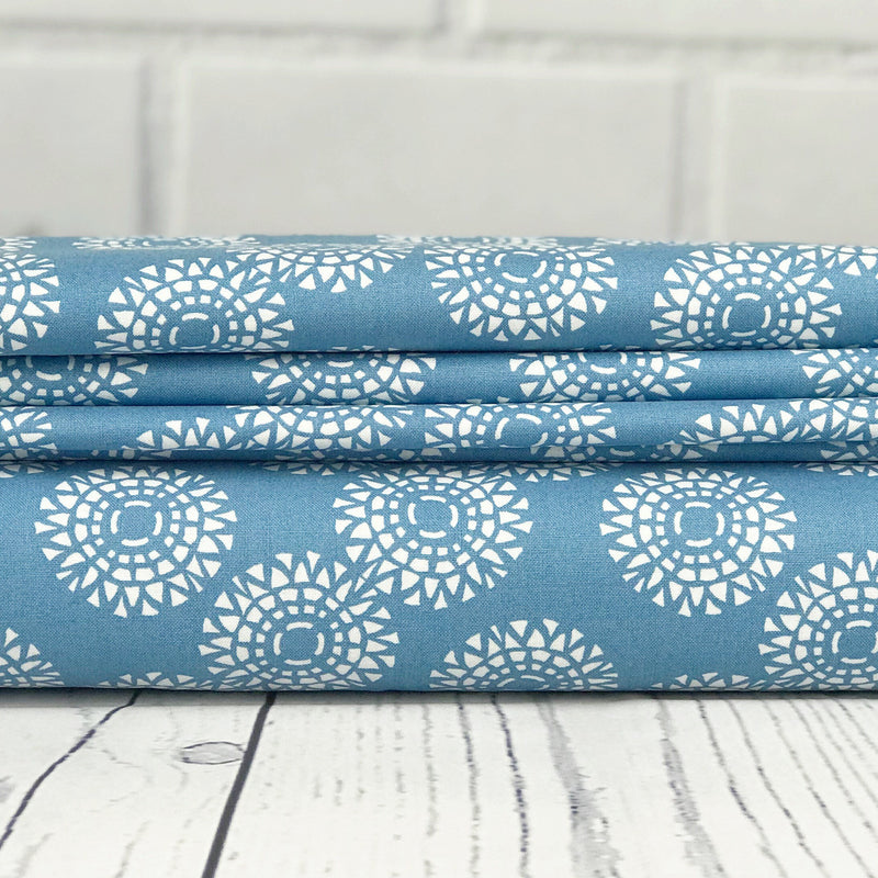 "END OF BOLT 1 yds + 27"" Light Blue Floral Fabric from Voyage Collection at Cherry Creek Fabric"