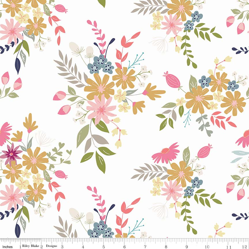 White Meadow Fabric