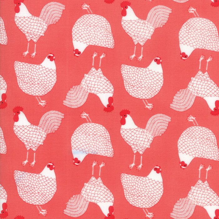 Pink Cluck Chicken Fabric