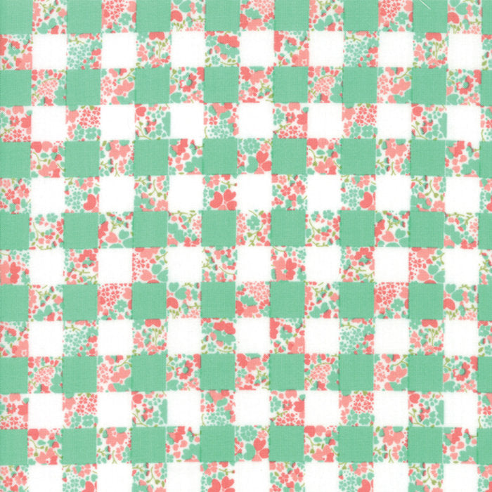 Strawberry Jam Fabric - Turquoise Gingham Garden Fabric - Corey Yoder - Moda Fabric - Floral Fabric - Flower Fabric - Fabric by the Yard from Cherry Creek Fabric & Crafts Collection at Cherry Creek Fabric