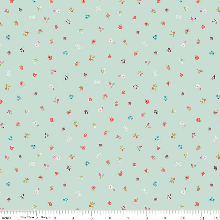 Mint Little Red Bits Fabric
