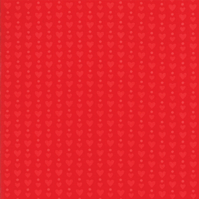 Red on Red Heart Dots Fabric</br> END OF BOLT </br>2 yds + 19""