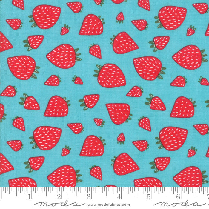 Turquoise Strawberry Patch Fabric from Farm Fresh Collection at Cherry Creek Fabric