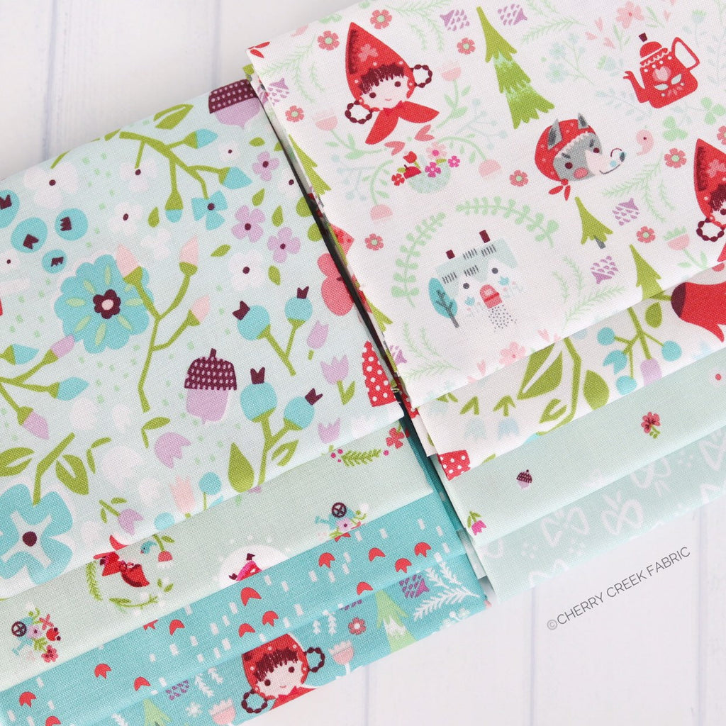 Little Red in the Woods Aqua Fat Quarter Bundle - 8 pieces