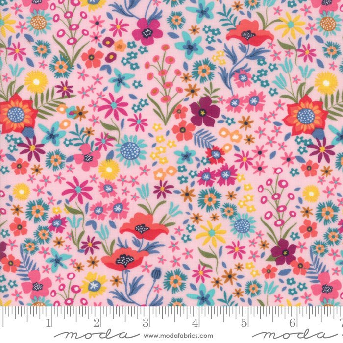 Pink Flower Patch Fabric from Rosa Collection at Cherry Creek Fabric