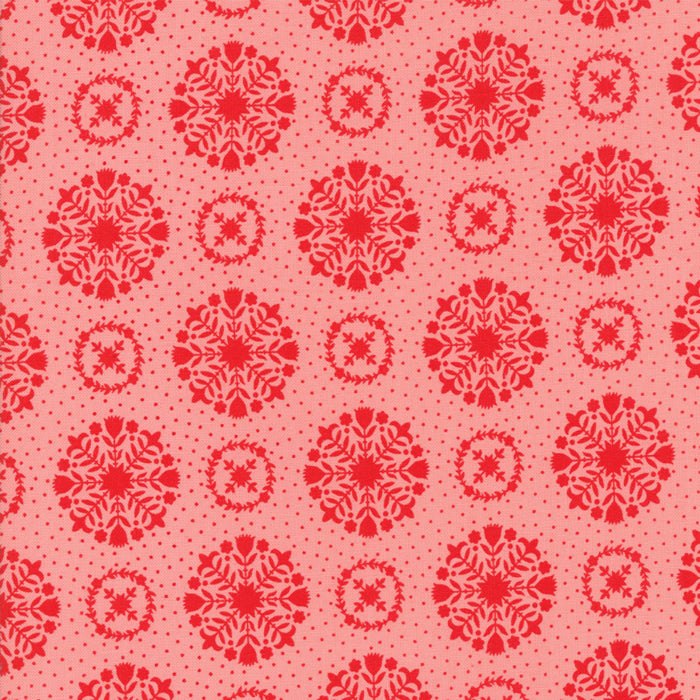 Pink Snowflakes Flannel Fabric from Vintage Holiday Flannel Collection at Cherry Creek Fabric